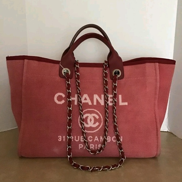 075f737f9de0 CHANEL Handbags - Chanel Deauville Canvas Chain Tote Large Red